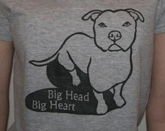 Big Heart Pit Bull Dog T-Shirt, Women's Adult Sizes