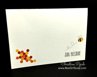 Bee Themed Notecard Sets, Just Because Cards, Bright and Colorful Bee Stationery