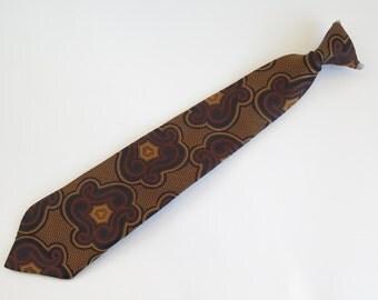 Vintage 1970s CLIP ON Retro Tie Gold Brown Black