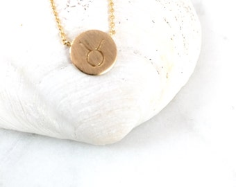 Taurus Necklace//Gold Necklace//Taurus Jewelry//Zodiac Necklace