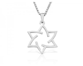 Star Necklace Jewish Star of David Necklace Star Of David Pendant White Gold Israel Jewelry Hand made Star Of David Magen David