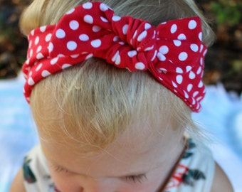 red and white polka dot top knot headband