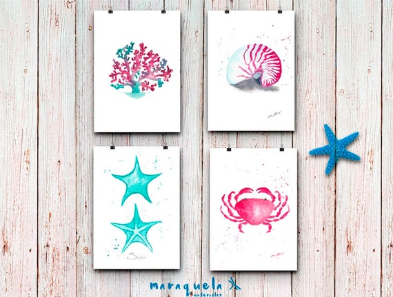 DISCOUNT SET - Seashell , Crab, Alga and Starfish ILLUSTRATION in Watercolor. Blue and Pink colors Beach, Summer Sea decor watercolor prints