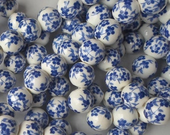 20 X Stunning Blue Hand Printed Round Porcelain Ceramic Flower/Floral Beads 12mm P25