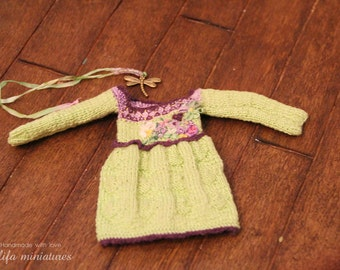 "Dress ""Green meadow"" for dolls format PukiFee,Платье ""Зеленый луг"""