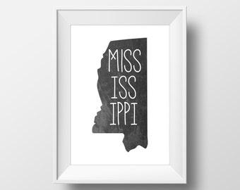 Mississippi State Black Chalkboard Printable Art, Mississippi Print, Mississippi Art, Modern Art,