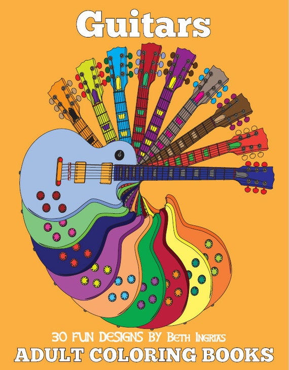 Adult Coloring Books Guitar Edition DIGITAL DOWNLOAD 30