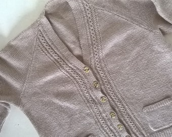 Hand knit, beige, loose fit, cardigan with front pockets