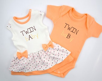 TWIN bAby and TWIN baBy Orange Twins Set, Baby Girl Bodysuit Dress & Baby Boy Bodysuit, Funny Twin Bodysuits, Orange/Cream Set of Twins