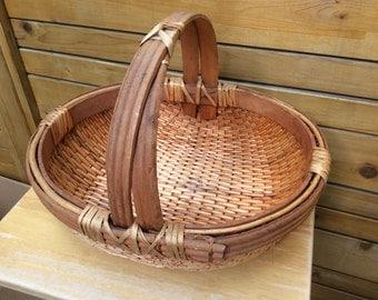 Mid century handmade stripped willow gathering basket. Primitive basket. Rustic. Farmhouse.