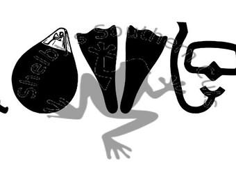 Scuba LOVE SVG file