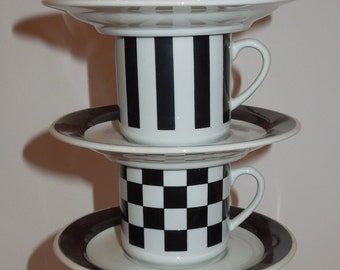 8pc. Black and White Espresso Set - 4 Cups and 4 Saucers Italy