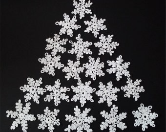 Set of 20 Handmade Crochet White Snowflakes- Stars Perfect Christmas Decorations