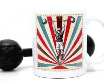 Mug cadeau pour homme sportif,  cadeau père, mug rétro, tasse homme, sport vintage, illustration rétro haltères