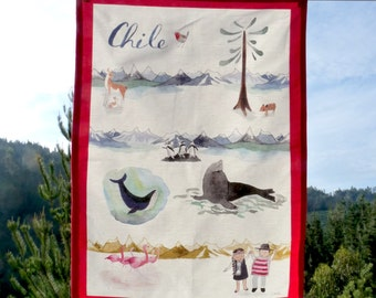 Tea towels with a Chile theme! Pisco, pebre, araucarias and more