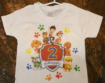 Paw Patrol Birthday Toddler Shirt Custom front and Back shirt 12months, 24months, 2T,3T,&4T