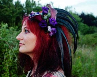 ravenna crow queen black rooster feather headdress headpiece cosplay festival gothic woodland wedding