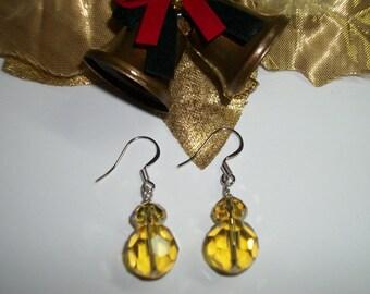 Golden Dangle Earrings, Faceted cut Glass, Pierced Earrings