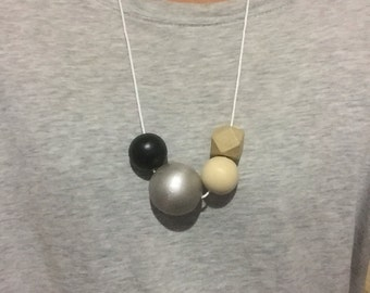 Wooden bead necklace // black silver and natural // hand painted