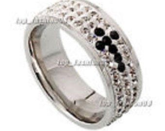 8MM Tungsten Ring Silver CZ Inlay 3Row