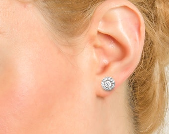 earrings stud cluster round natural diamonds TCW 0.44 white, yellow or pink gold 18kt women