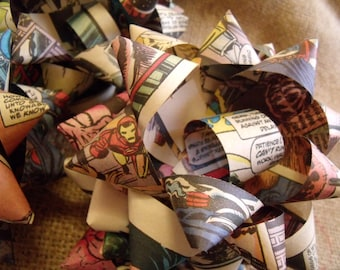 Re-purposed Comic Book Bows. Total of 8. Gift Wrapping Bows.