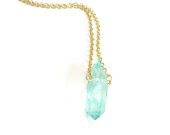Light Blue Druzy Quartz Necklace, Natural Quartz, Dainty, Simple