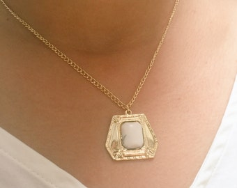 White Marble Stone Necklace, Gold Necklace