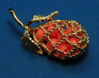 Vintage Gold Tone Pear Brooch Pin w/ Faux Coral
