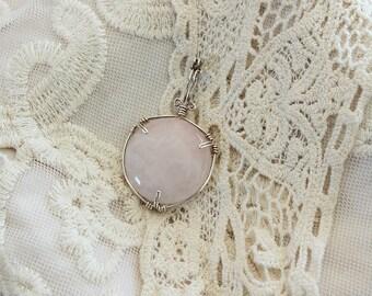 Rose quartz silver plated copper wire