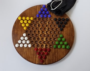 Circular Chinese Checkers Board with Pouch and Marbles