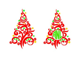 Swirly Christmas Tree Monogram, SVG, DXF, AI; Eps; Pdf Cutting Files for Electronic Cutting Machines