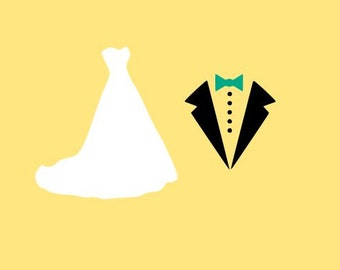 Bride and Groom; SVG, Studio 3, DXF, AI, Ps and Pdf Cutting Files for Electronic Cutting Machines