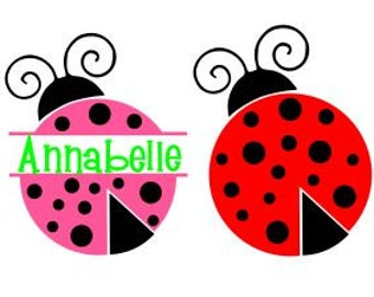 LadyBug Monogram SVG, Studio 3, DXF, PS, Ai and pdf Cutting Files for Electronic Cutting Machines