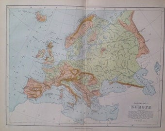 1871 Europe Physical map, original antique map, colour, historical, vintage