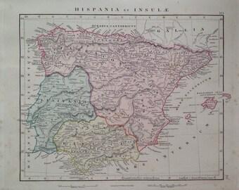 1865 HISPANIA ET INSULAE original antique map, rare, historical, hand-coloured, ancient history, Spain, Portugal, Iberian Peninsula
