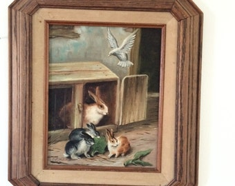 Vintage Rabbit and Friends Oil on Canvas Painting by E. Cotman