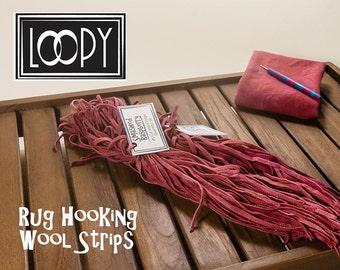 Rug Hooking Wool Strips Pink (Smashed Raspberry) 50 Strips