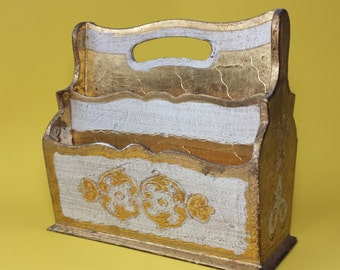 20% Off Listed Price, Italian Letter Holder, Vintage Wood Mail Organizer, 1970's Letter Holder,