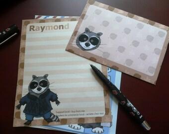 Cute Stationery Set: Raymond the Raccoon
