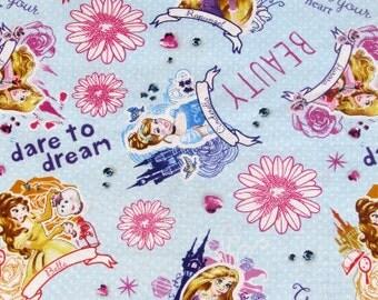 "8"" Disney Princesses Rapunzel, Cinderella, Aurora, Belle Fabric Remnant/End of Bolt 850"
