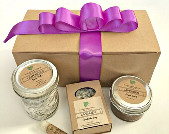 Lavender Spa Gift Set for her- Bath & Body Gift Box with soap, scrub, bath salt and lip balm- Gift Basket