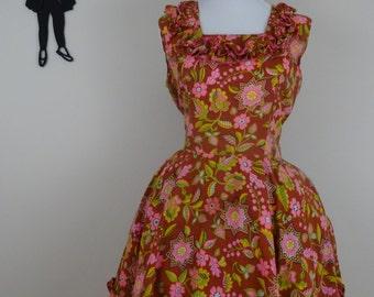 Vintage 1960's Square Dancing Dress / 60s Floral Prairie Day Dress L/XL