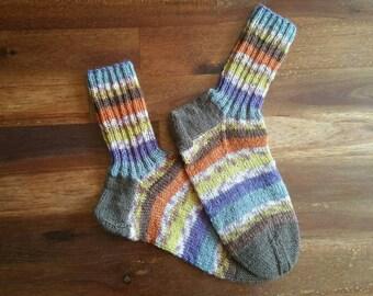 Wollsocken, gestrickte Socken, warme Socken, Wintersocken, Erwachsene Socken, warme Füße, bunte Socken, unisex-Socken, Winterkleidung, gestreifte Socken
