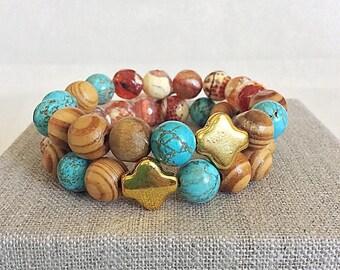 Boho Stretch Beaded Gemstone Bracelet, Turquoise Wood and Agate Beaded Stacking Bracelets, Gemstone and Gold Stretch Bracelet