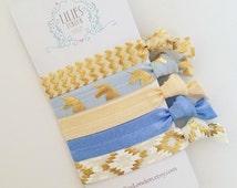 Unicorn hair ties, yoga hair ties, blue and gold ponytail holders, handmade fold over elastic hair ties, pretty hair bands, gentle hairties