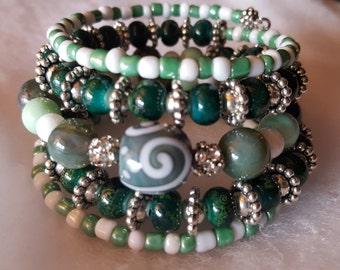 5 coil Green/White Silver Memory Wire Cuff bracelet