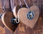 Heart Ornament with Vintage Key, Hanging Wood Heart, Country Decor, Walnut Wood Heart