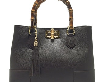 "bag model ""LADY BAMBOO"" Brown real leather dark brown"