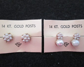 Vintage 1950's Pearl stud earrings with 14kt. solid gold posts, new old stock, never worn> 2 styles!